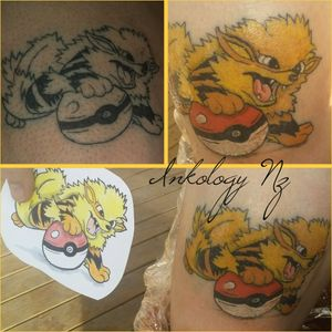 had the pleasure of inking this aweaome thigh piece today. #arcanine . was given artistic freedom with it and designed him with the #pokeball. totally loved doing this was a bunch of fun and thanks so much for sitting like a champ. it was 2 1/2 hours of awesome! (palm sized) #pokemon #pokemongo #pokemontattoo #tattoo #inked #ink #inktattoo #tattooed #inklovers #inkstagram #inkaddiction #cartooncat #cartoontattoo #tattedup #outlinedrawing #colourfulllife #inked #pokemonlover #inklover #instatattoos #tattoolover #pokemon #awesometattoos