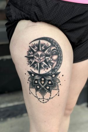 Had a lot of fun making this one. 🌞🌙 . . . @obsidian_parlor #obsidianparlor #tattoo #thightattoo #linework #boldwillhold #tashabtattoo #tashagtattoo #patattooers #bethlehem #pennsylvania #girlswithtattoos #tattooed #zapzap #blackandgray #blackandgraytattoo #girlswithtattoos #tattoo #tattoos #tatted #patattooer #bethlehem #pennsylvaina #suntattoo #moontattoo #mandalatattoo #sunandmoontattoo #handtattoo