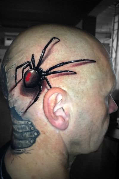 #spinne #spider #3d #realism #realistic #realistisch #head #tattoo #headtattoo #red #animal #portrait #marco #pik #ass #marcopikass #pikasstattoo #facetattoo #face #witwe #germany #deutschland