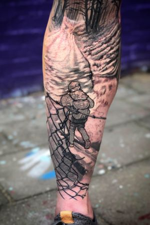 UNDER CONSTRUCTION Some hours on my well respected nephew Freek. Short but sweet. Really looking forward to work on this legsleeve again. #bng #blackandgrey #blackandgreytattoo #legsleeve #legtattoo #surrealism #wallsandskin #tattoo #tatuagem #tatuaje #inkedup