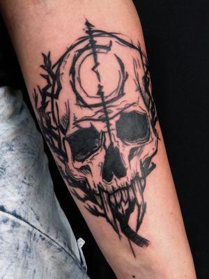 Black work occult Skull by Adam McDade #occult #skulltattoo #illustration #blackwork #adammcdade