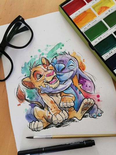 Diseño ya tatuado! @guilleryan.arttattoo guilleryanarttattoo@gmail.com#lionking #simba #reyleon #stitch #disneytatts #disney #cartoontattoos #habdmadeart #animetattoos #watercolortattoo #geektattoos #frikitattoos #gamer #sketchtattoo #watercolor #watercolorartist #watercolortattoo