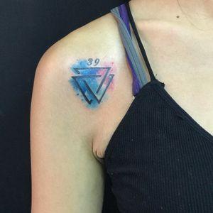 Double triangle watercolortattoo #phukettattoo