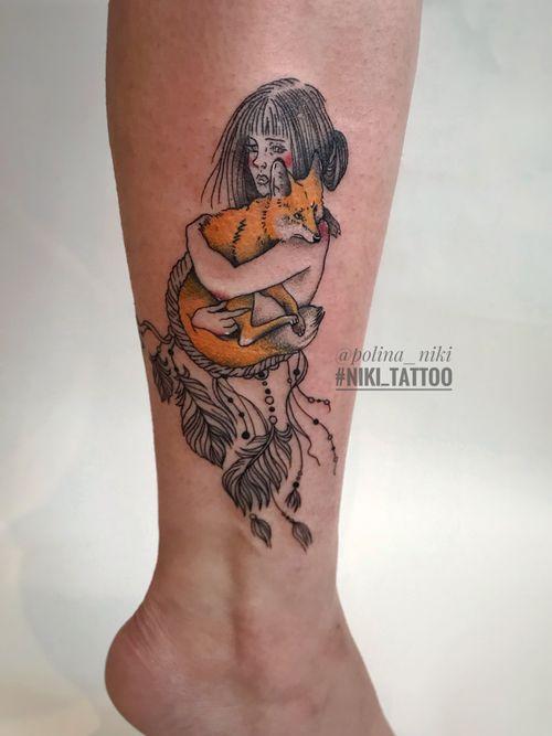 Instagram @polina_niki #tattoospb #spbtattoo #fox #foxtattoo #tattoofox #graphictattoo #tattoographic #colortattoo #tattoocolor #niki_tattoo