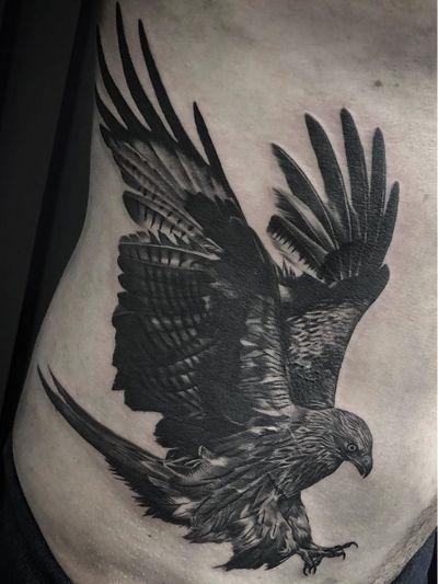 Bird tattoo by Fez Tattoo #FezTattoo #birdtattoos #birdtattoo #bird #feathers #wings #flying #tattooidea #blackandgrey #eagle #realism #realistic