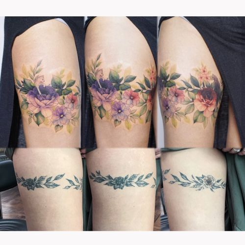 #coveruptattoo #커버업타투 #꽃타투 #flowertattoo #tattoocoverup #thightattoos