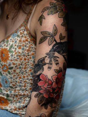 Bird tattoo by Sophia Baughan #SophiaBaughan #birdtattoos #birdtattoo #bird #feathers #wings #flying #tattooidea #dragonfly #flower #floral #nature #illustrative