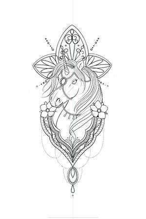 Unicorn tattoo idea #unicontattoo #patternwork #girlytattoo #tattooidea #flash