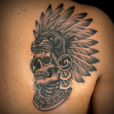 Aztec tattoo by Holli Marie #HolliMarie #Aztectattoo #Aztectattoos #Aztec #Mexican #Mesoamerica #PreColombian #ancientculture