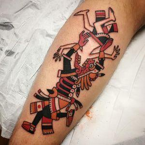 Aztec tattoo by Pandido Tattoo #pandidotattoo #Aztectattoo #Aztectattoos #Aztec #Mexican #Mesoamerica #PreColombian #ancientculture