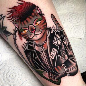 Female Tattooers - Cat tattoo by Iris Lys #IrisLys #FemaleTattooers #ladytattooers #ladytattooartist #femaletattooartist #cattattoo #cat #punk #acab #anarchy #leg