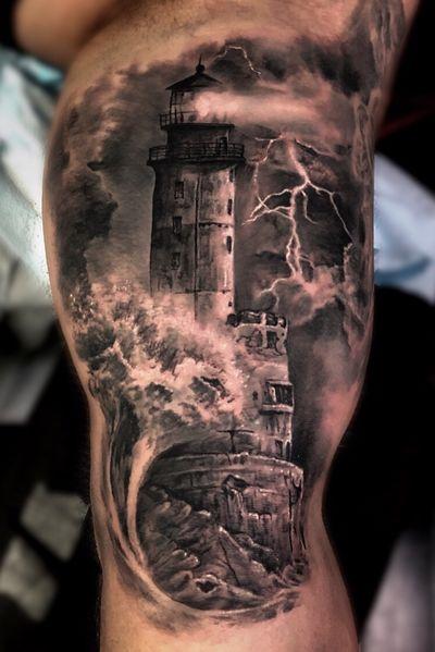 #lighthouse from the other day 🌊 #tattoo #tattoos #blackandgrey #blackandgray #realism #torontotattoo #torontotattoos