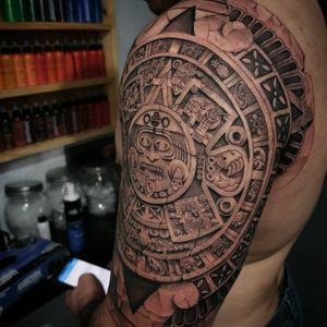 Aztec tattoo by Feoden Jimenez #FeodenJimenez #Aztectattoo #Aztectattoos #Aztec #Mexican #Mesoamerica #PreColombian #ancientculture