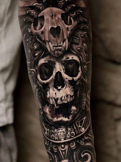 Aztec tattoo by Ossian Staraj #OssianStaraj #Aztectattoo #Aztectattoos #Aztec #Mexican #Mesoamerica #PreColombian #ancientculture