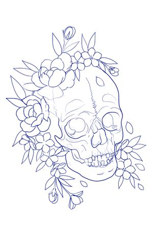 Skull and flower idea for tattoo