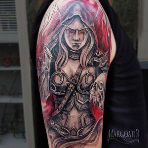Sylvanas custom design tattoo #SylvanasWindrunner #Sylvanas #sylvanastattoo #gamertattoo #gamertattoos