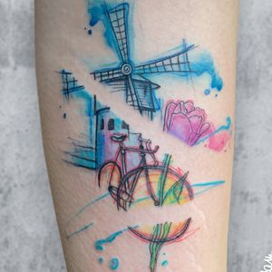 A Memory from the Netherlands, thank you Christina ❤️🙏🏽for your trust. #tattoohysteriaamsterdam #tattoo #amsterdamtattoo #tattooamsterdam #watercolortattoo #graphictattoo #dutchtattoo #dutchtattooers #windmilltattoo #tuliptattoo #biketattoo #bicycletattoo #hossam_hysteria