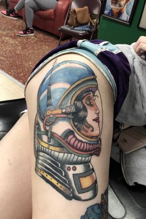 One more session on this lady! #art #artist #syndicatetattoo #tattoo #tattooartist #okc #fyt #chyenne #atx #eternalink #traditionaltattoo #realism #blackclaw #mustang #neotraditonal #truetubes #tatsoul #fusionink #tattoooftheday #tattoosnob #artwork #artistoninstagram #artoftheday #artofvisuals #eternalink #astronaut #neotrad
