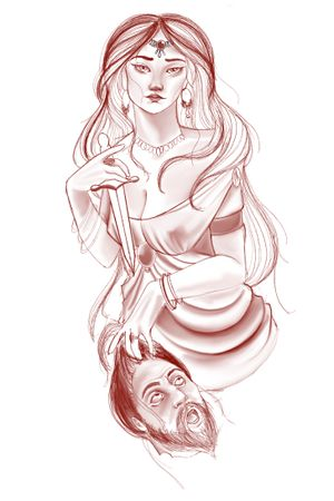 Tattoo idea great for calf or upper arm #ladyface #womantattoo #neotraditional #severedhead
