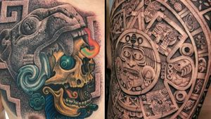 Aztec tattoo on the left by Scrappyuno and Aztec tattoo on the right by Feoden Jimenez #FeodenJimenez #Scrappyuno #Aztectattoo #Aztectattoos #Aztec #Mexican #Mesoamerica #PreColombian #ancientculture