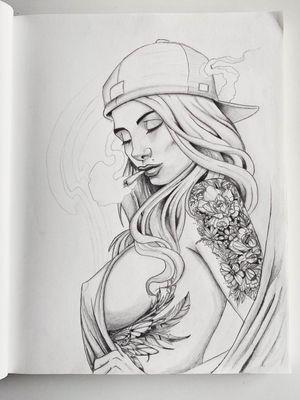 Chicano girl tattoo design Smoking chick