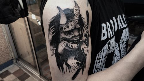 🔥#tattoo #tattooart #tattoodesing #black #tatuaje #diseñotatuaje #dotwork #blacktattoo #demon #japoneses #tattoojapanese #hand