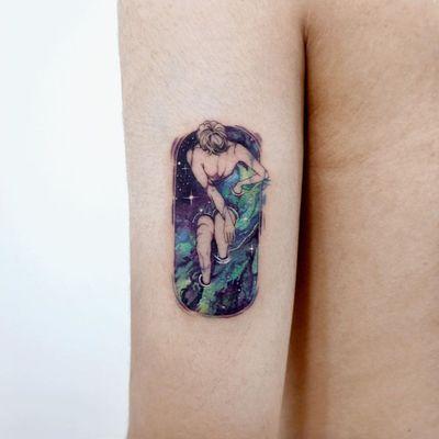 Beautiful tattoo by Tattooist Sigak #TattooistSigak #beautifultattoos #beautifultattoo #beautiful #tattooidea #besttattoo #awesometattoo #cooltattoo #galaxy #stars #water #cosmos #portrait #bathtub #arm #illustrative watercolor
