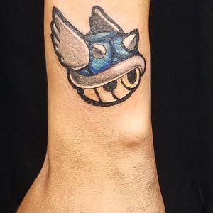 Mario Kart blue shell. #mariokart #videogame #blueshell #smalltattoo #chicago #nerdytattoo