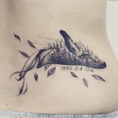 Humpback whale tattoo - Tattoo Chiang Mai #blackworktattoo #whale #forest #blxckink #tattooist #ChiangMai #tattooart #Tattoodo #tattoochiangmai #tattoostudiochiangmai