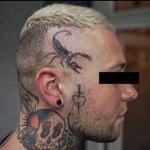 Scorpion tattoo by Blame Max #BlameMax #TattoodoApp #TattoodoApptattooartist #tattooartist #tattooart #tattooidea #inspiringtattoo #besttattoo #awesometattoo #handpoke #blackandgrey #scorpion #scalp #dead