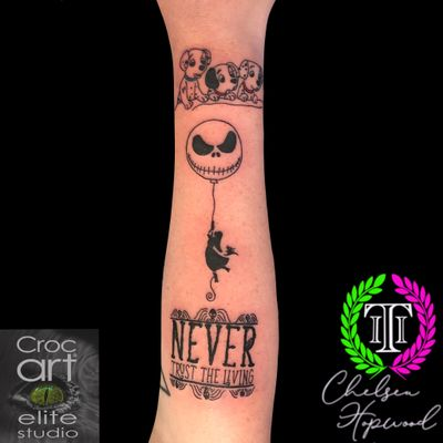 101 Dalmatians, Nightmare before Christmas & Beetlejuice. #disney #disneytattoos #beetlejuice #nightmarebeforechristmas #linework #lineworktattoos #blackwork #script #lettering #fineline