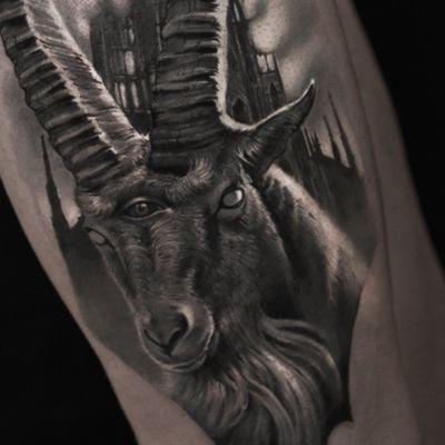 Evil goat tattoo by Elen Soul #ElenSoul #TattoodoApp #TattoodoApptattooartist #tattooartist #tattooart #tattooidea #inspiringtattoo #besttattoo #awesometattoo #realism #realistic #goat #Blackandgrey #demonic #horns #arm