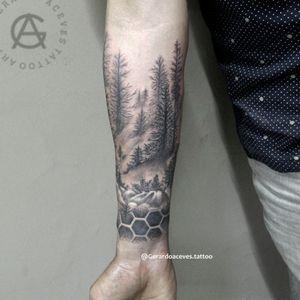 Forest tattoo  Follow @gerardoacevestattoo  . . . .#forest #foresttattoo #blacandgrey #Black #blackandgreytattoo