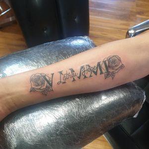 Memorial tattoo, clients first tattoo as well! #tattoo #memorial #memories #roses #arm #romannumerals #BlackworkTattoos #SimpleAndBeautifulTattoo #BoldBlackwork