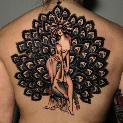#backpiece #peacock