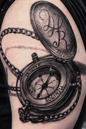 Good ol compass tattoo. #compass #blackandgrey #arizona devynsart@gmail.com
