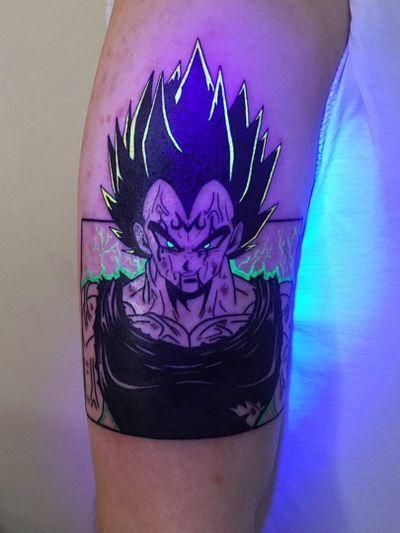 UV Ink Tattoo by Noil Culture #NoilCulture #uvinktattoo #uvink #uvtattoo #ultraviolet #ultraviolettattoo #uv #dragonballz #goku #anime #manga #arm