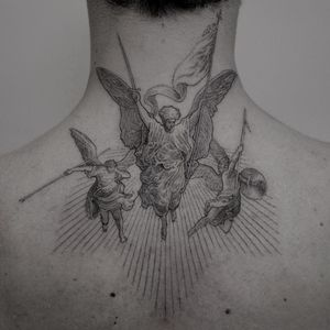 Good tattoo design by Coldgray #Coldgray #goodtattoodesigns #goodtattoodesign #tattoodesign #besttattoo #angels #blackandgrey #fineline #necktattoo #upperback #heaven