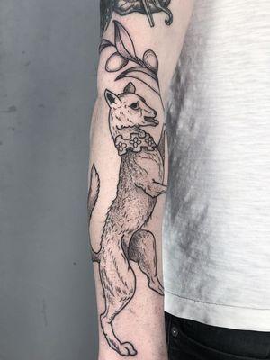 Medieval dog tattoo by Ant the Elder #AnttheElder #SangBleu #London #sigil #illustrative #medieval #etching #engraving #renaissance #symbol #esoteric #darkart #symbolism #blackwork #linework #arm