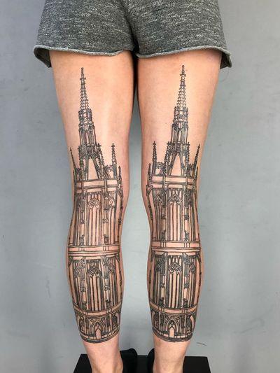 Leg tattoo by Ant the Elder #AnttheElder #SangBleu #London #sigil #illustrative #medieval #etching #engraving #renaissance #symbol #esoteric #darkart #symbolism #blackwork #linework #legtattoo