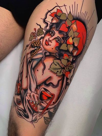 Good tattoo design by Pablo Lillo #PabloLillo #goodtattoodesigns #goodtattoodesign #tattoodesign #besttattoo #traditional #lady #portrait #wine #grapes #fruit #leaves #goddess #leg #traditional