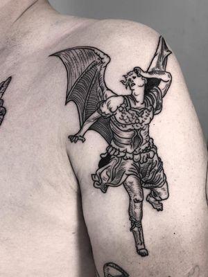 Illustrative tattoo by Ant the Elder #AnttheElder #SangBleu #London #sigil #illustrative #medieval #etching #engraving #renaissance #symbol #esoteric #darkart #symbolism #blackwork #linework #arm