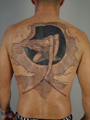 Back tattoo by Ant the Elder #AnttheElder #SangBleu #London #sigil #illustrative #medieval #etching #engraving #renaissance #symbol #esoteric #darkart #symbolism #blackwork #linework #backpiece #backtattoo