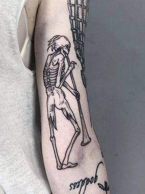 Medieval tattoo by Ant the Elder #AnttheElder #SangBleu #London #sigil #illustrative #medieval #etching #engraving #renaissance #symbol #esoteric #darkart #symbolism #blackwork #linework #arm