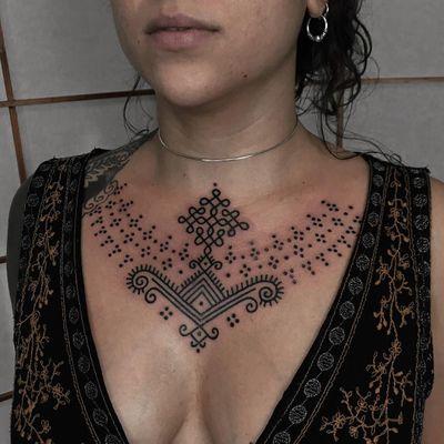Good tattoo design by Xapiripa #Xapiripa #goodtattoodesigns #goodtattoodesign #tattoodesign #besttattoo #dotwork #linework #tribal #neotribal #folkart #folktraditional #pattern #ornamental #chest
