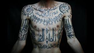 Arabic tattoos by unknown #ArabicTattoos #Arabictattoo #arabic #arabicscript #arab #calligraphy #lettering #letters #writing #quote #blackwork #ornamental #pattern