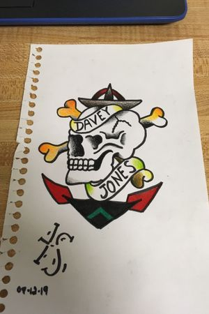Sailor Jerry skull with anchor tattoo flash done with prismacolor pencil.