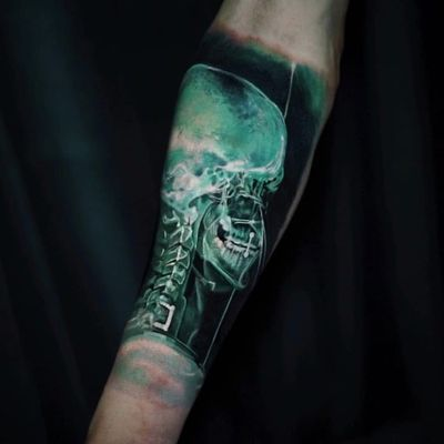 Skeleton tattoo by Yomico #Yomico #skeletontattoos #skeletontattoo #skeleton #bones #skull #death #anatomy #anatomical #xray #realism #hyperrealism #realitsic #color #arm