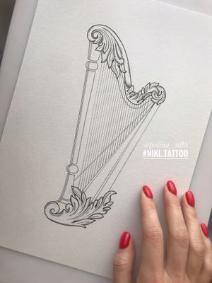 Instagram @polina_niki #tattoospb #spbtattoo #татуспб #спбтату #graphictattoo #tattoographica #graphica #tattoogirl #girltattoo #harpsketch #music #harp #line