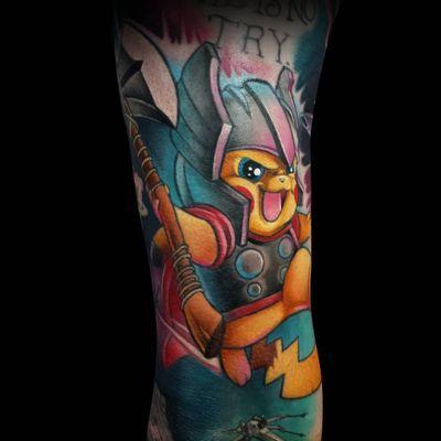 #Pikachu #pikachutattoo #pokemon #pokemontattoo #pokemongo #AvengersTattoo #avengers #thor #MarvelTattoos #MarvelTattoo #marvel